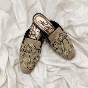 Embroidered Slip On Mules